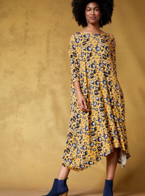 Animal print loose fitting dress with yellow background