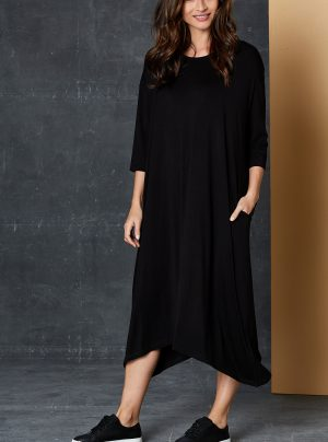 loose fitting black dress with 3/4 sleeves