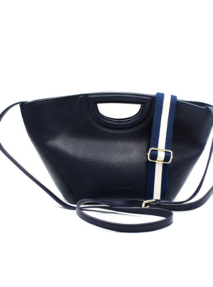 NAVY TOTE BAG WITH FABRIC STRAP