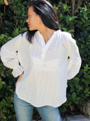 White embroidered shirt with billowy sleeves