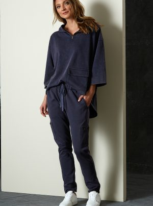 dark blue pull on trackpant