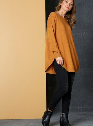 knit jumper in saffron
