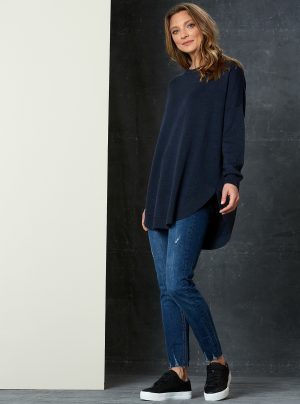 blue round neck longline jumper