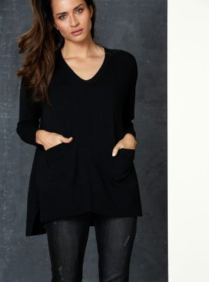 black jumper with two front pockets
