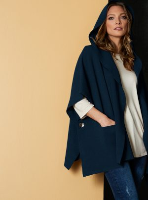 cape in navy blue with hood