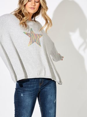 Grey knit with sequin star
