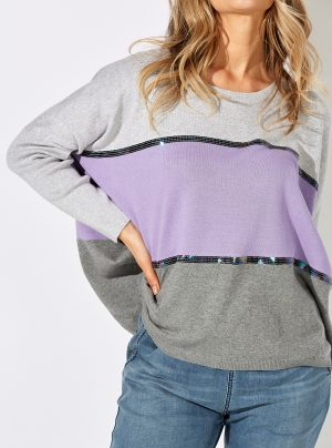 grey and lilac knit top with sequin stripes