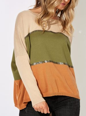 striped knit in beige, green and orange with sequin bands