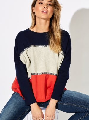Stripe knit in navy, stone and red with sequin details