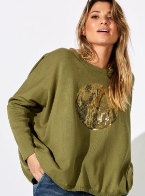 green knit with circle sequin