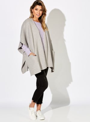 Haven sublime cape in maple grey. Over size soft cape.