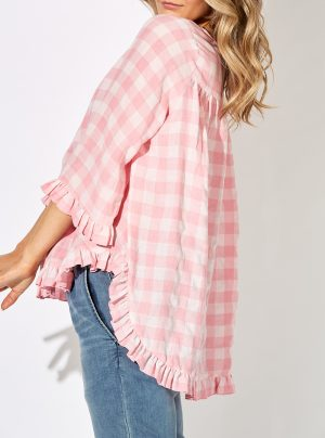 pink and white check shirt