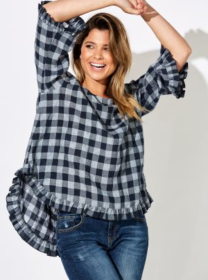 Blue check shirt with frill hem