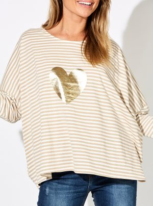 Striped top in bamboo and white with large gold heart motif on the front