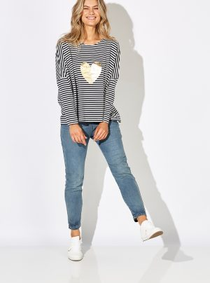 navy and white striped top with gold heart motif