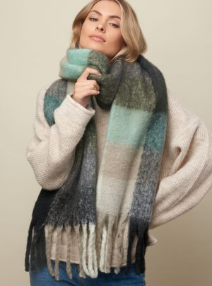 Winter check scarf in greens and neutral colours