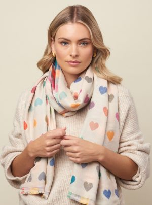 Cream scarf with colourful hearts