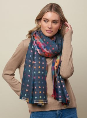 Denim blue scarf with colourful dots