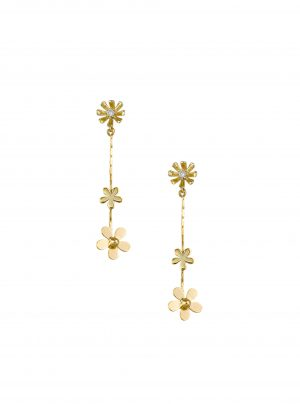 Gold drop earring with 3 flowers