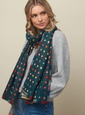 Forest green scarf with colourful dots