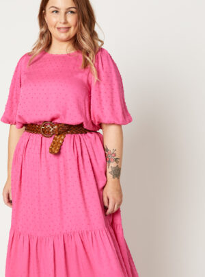 Bright pink dress in a dobby fabric