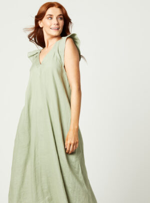 Linen and viscose mix dress with ruffle cap sleeves in sage green