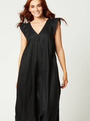 Black linen dress with frill sleeves