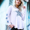Leopard star long sleeve tee with 3 small stars on the right sleeve