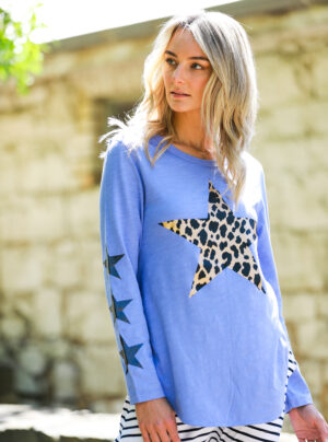 long sleeve tee with leopard star on the front and 3 small stars on the right sleeve
