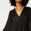 Black blouse with gathers and v neck