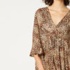 Blouse with v neck and cheetah print