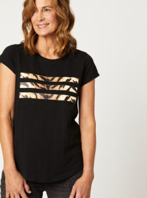 black t-shirt with tiger print across the front