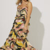 Frill maxi dress with tie front and fun pattern