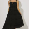 Maxi dress with frills in black
