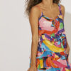 Maxi dress with frills in bright colours