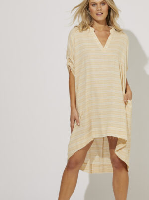 Shirt dress in with yellow stripes