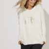 knit jumper with a gold foil rainbow motif