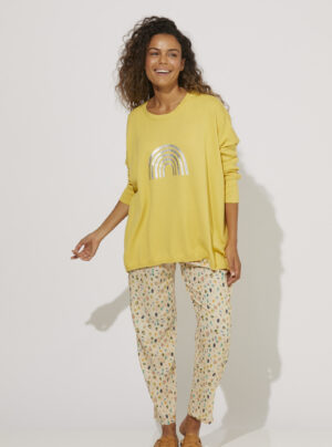 Yellow cotton knit top with foil rainbow motif