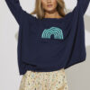 Navy knit with green coloured rainbow motif
