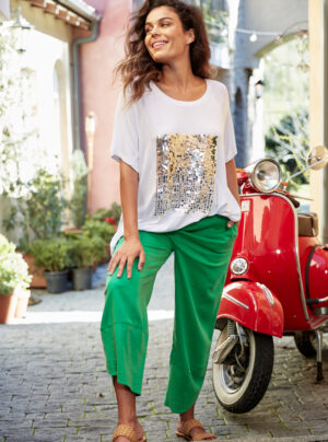 White t-shirt with silver sequins on the front