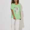 Lime tee shirt with silver sequins on the front