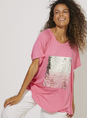 Pink tee shirt with silver sequins on the front