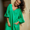 Green linen dress with frill sleeves