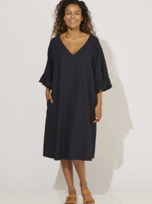 Navy linen dress with frill sleeves